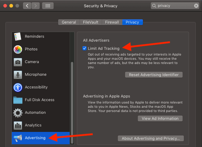 Limit ad tracking in macOS on the Apple Mac