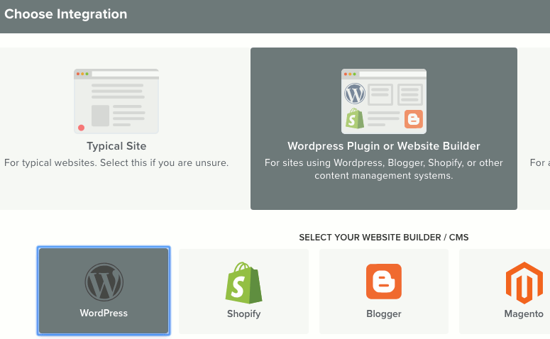 Choose the WordPress setup for notifications at OneSignal website