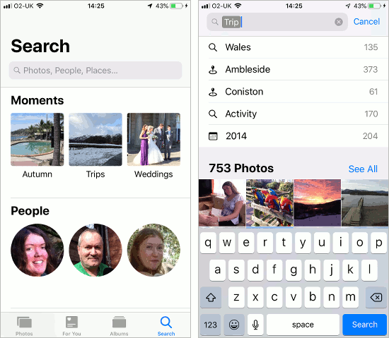 Search for photos in the Photos app on the iPhone