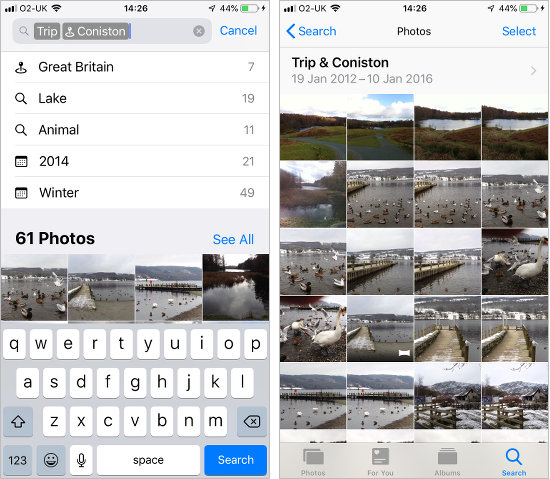 Use smart search features in the Photos app on the iPhone