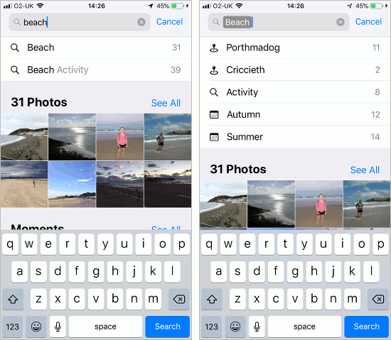 Use smart search features in the Photos app on iOS