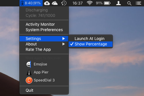 Simple Battery Monitor menu bar utility for macOS