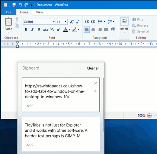Windows Clipboard history showing multiple items