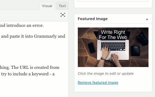 Set a featured image in WordPress posts