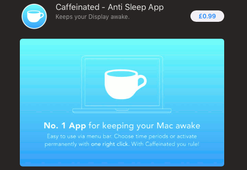 Caffeinated app in the Mac App Store prevents the Mac from entering sleep mode