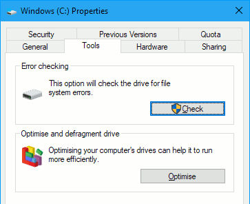 Repair or optimize the disk in Windows