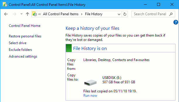File History backup utility in Windows 10