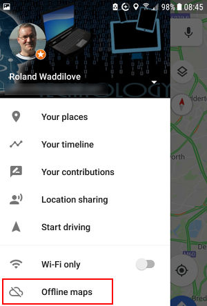 Google Maps menu sidebar on an Android phone
