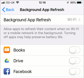 Background App Refresh settings in iOS 12 on the iPhone