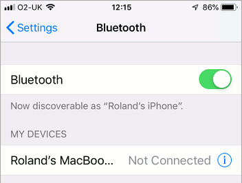 iPhone Bluetooth settings in iOS 12