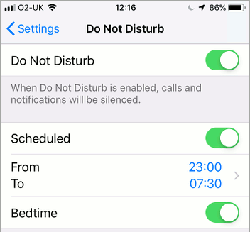 Do Not Disturb settings in iOS on the iPhone