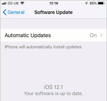 Enable automatic updates on the iPhone in the Settings app