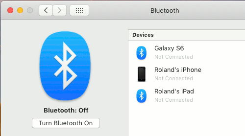 Turn Bluetooth on or off in macOS on the Apple Mac
