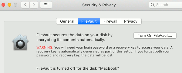 FileVault in macOS on the Apple Mac drive encryption