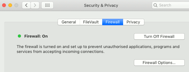 The firewall setting in macOS on the Apple Mac