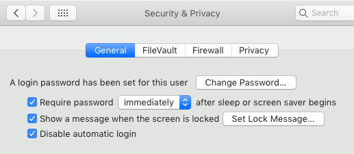 General security settings in macOS on the Apple Mac