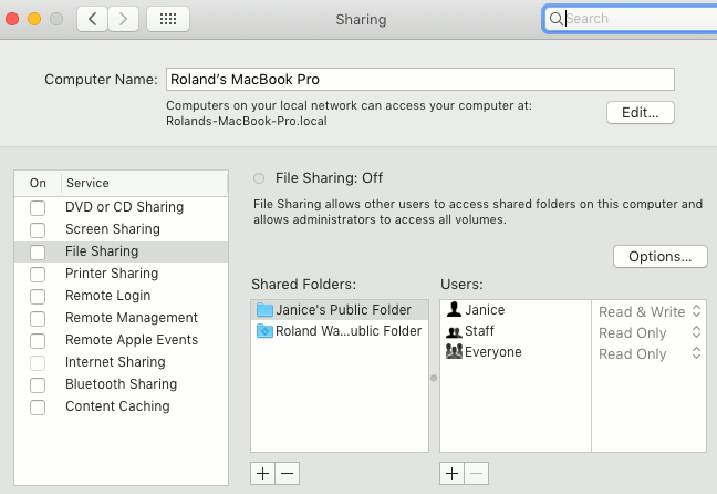 Sharing features in macOS System Preferences on the Apple Mac