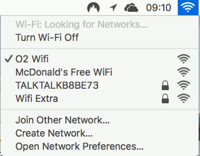 The Wi-Fi menu in macOS on the Apple Mac