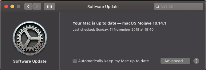 Software Update in System Preferences in macOS Mojave on the Apple Mac