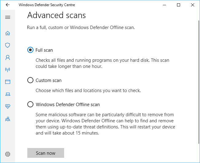 Malware scan option in Windows Defender