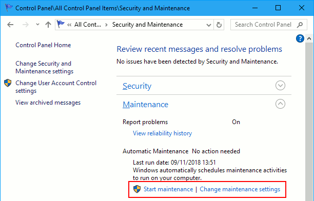 Windows automatic maintenance task settings in the Control Panel