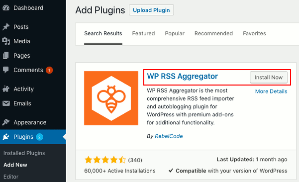 WP RSS Aggregator plugin for WordPress