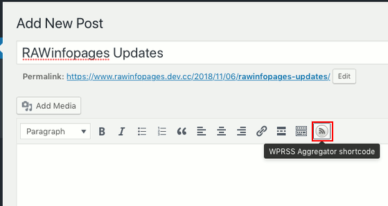 WP RSS Aggregator plugin for WordPress add a feed to a post