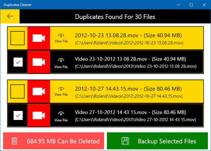 Duplicates Cleaner app for Windows 10 showing search results