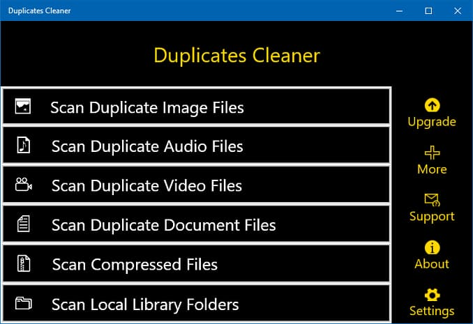 Duplicates Cleaner Windows 10 app main menu
