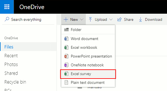 Create an Excel survey at onedrive.com