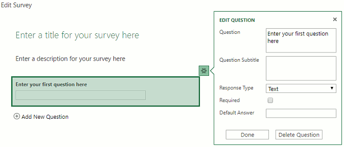 Enter questions using the Excel online survey at OneDrive.com