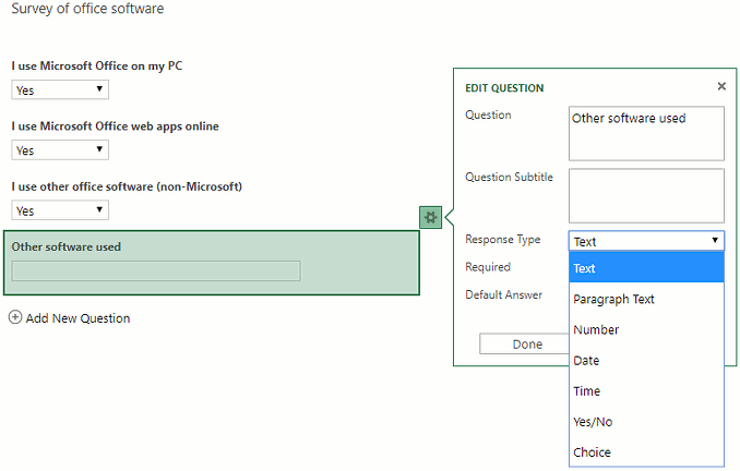 Add questions in the Excel online survey maker at the OneDrive website