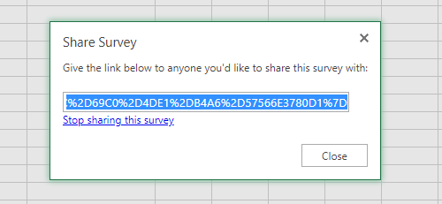 Share the URL to an Excel online survey