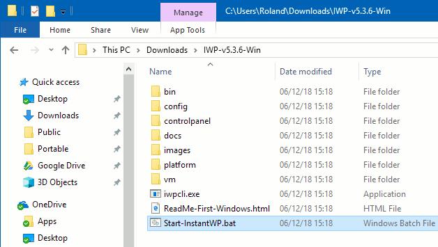 Run InstantWP in Windows