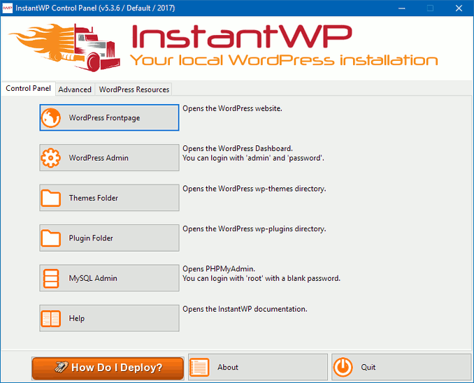 InstantWP control panel in Windows