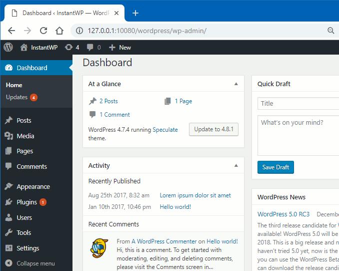 InstantWP running WordPress in Windows