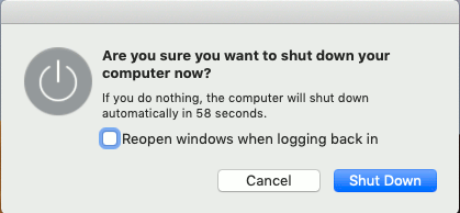 Shut down the Apple Mac
