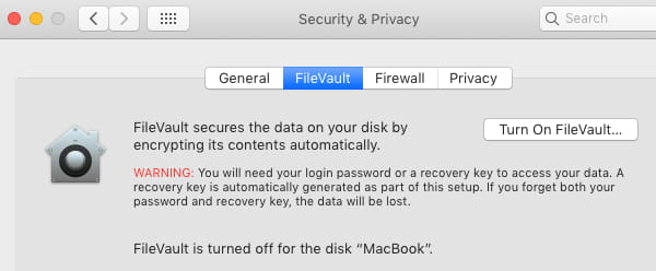 FielVault disk encryption settings in macOS on the Apple Mac