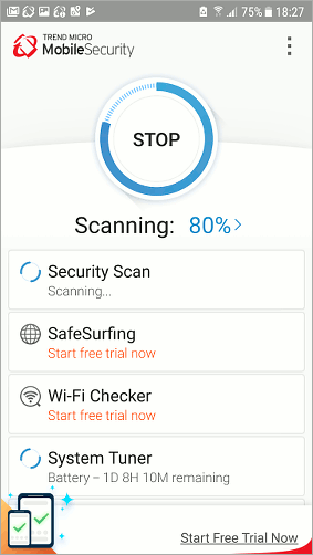 Scan Android phone for malware with Trend Micro security app