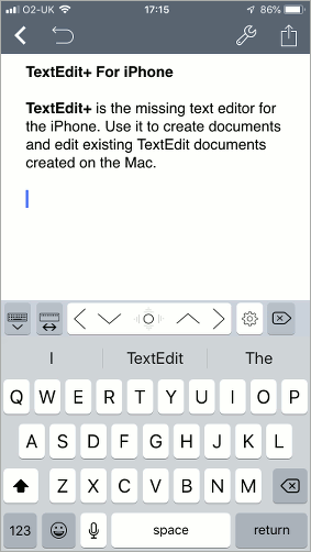 Editing a TextEdit document in TextEdit+ on the iPhone