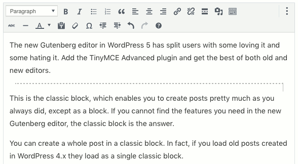 The Classic block editor in WordPress Gutenberg editor