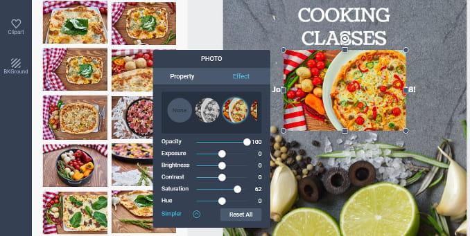 DesignCap online poster creator. Image editing controls