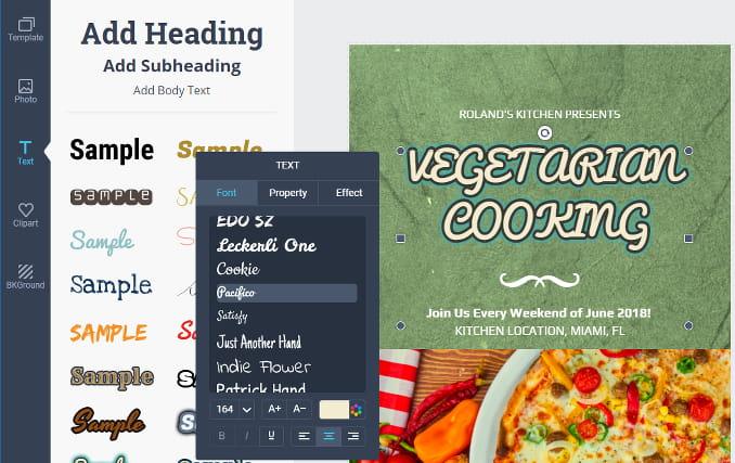 DesignCap online poster creator. Adding text