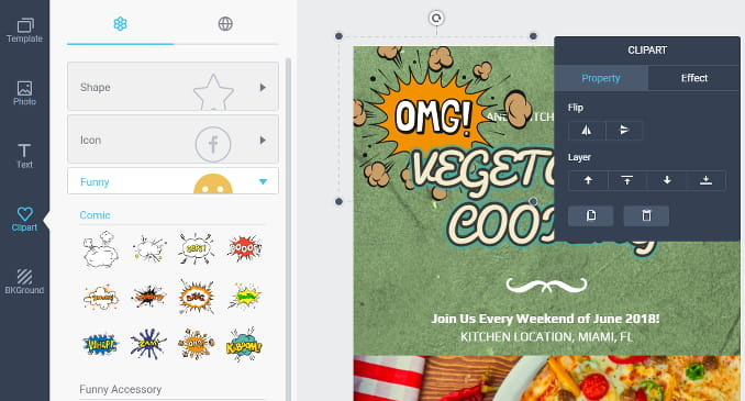 DesignCap online poster creator. Add clipart