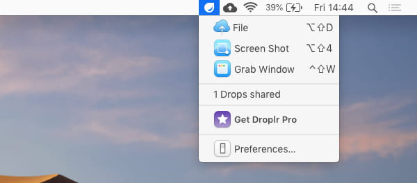 Droplr menu bar icon enables you to take screenshots