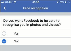 Facebook face recognition options in the iPhone app settings