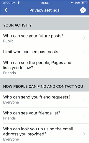 Facebook visibility settings. Control who sees what