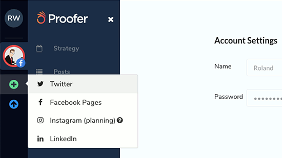 Add social network accounts to Proofer automation service