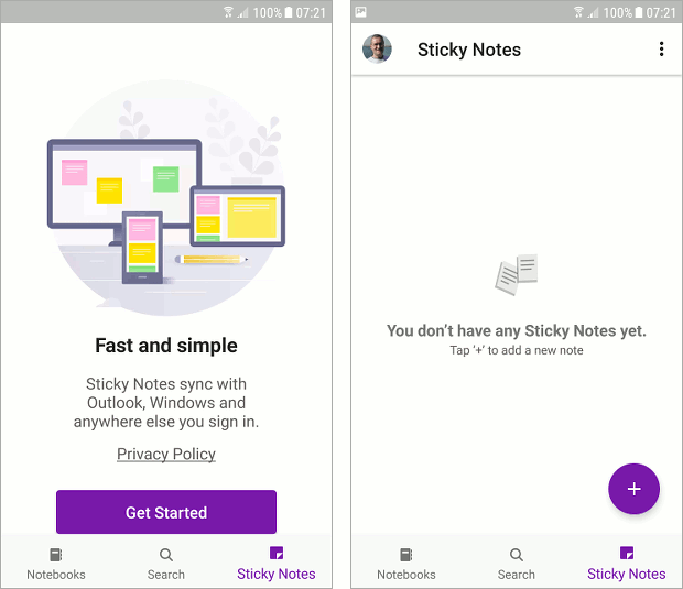 Get started with Sticky Notes on an Android phone