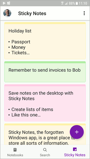 Sticky Notes in the OneNote Android app